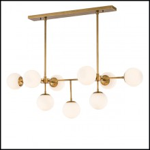 Chandelier avec structure en laiton finition antique 24-Lux