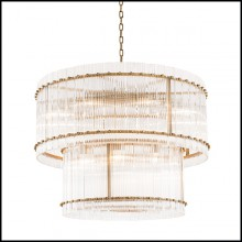 Chandelier with structure in brass in antique finish 24-Ruby L