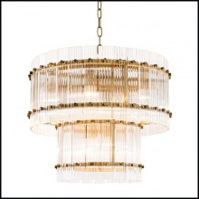Chandelier with structure in brass in antique finish 24-Ruby S