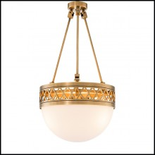 Chandelier with structure in brass and white glass 24-Bistroquette