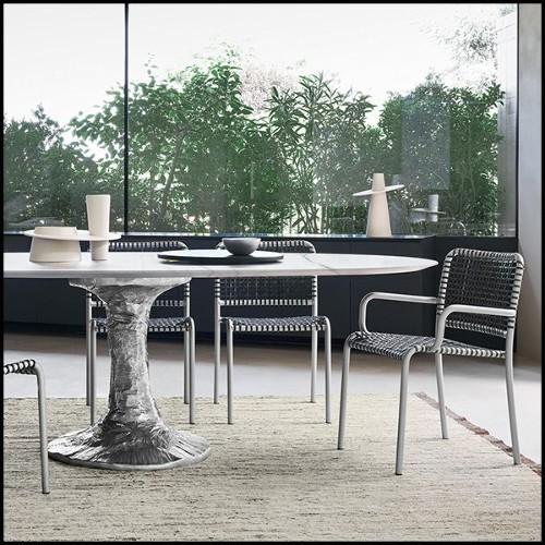 Chandelier avec structure finition Gold et verre fumé 24-Rondoni Gold