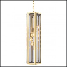 Chandelier with structure in Gold finish and smoked glass 24-Rondoni Gold