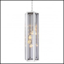 Chandelier with structure in nickel finish and smoked glass 24-Rondoni Nickel