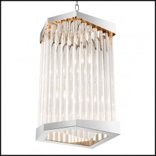 Chandelier with structure in nickel finish and clear acrylic 24-Waltz