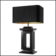 Table Lamp with structure in brass in black finish and shade in velvet 24-Mandarin