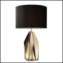 Table Lamp with structure in iron and base in crystal glass 24-Setai Amber