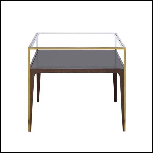 Lampe avec structure en fer et base en verre cristal fumé 24-Setai Smoke