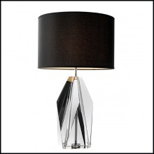 Table Lamp with structure in iron and base in smoked crystal glass 24-Setai Smoke