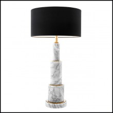 Table Lamp with base in white marble and details in brass in gold finish 24-Dax