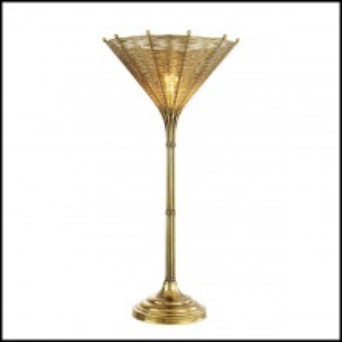 Lampe avec structure en acier inoxydable finition laiton vintage 24-Kon Tiki