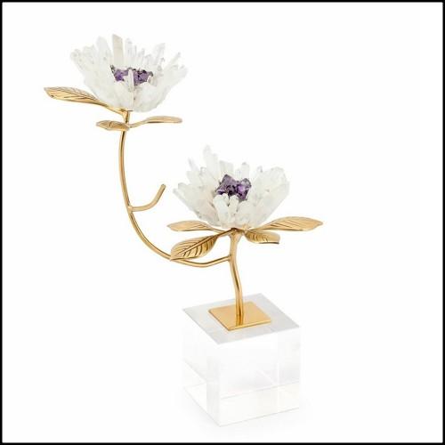 Lampe avec structure en laiton finition nickel et verre finition givre 24-Solana Nickel