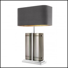 Table Lamp with structure in brass in nickel finish and frosted glass 24-Solana Nickel