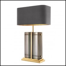 Table Lamp with structure in polished brass and frosted glass 24-Solana Brass