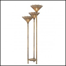 Floor Lamp Triple with structure in stainless steel in vintage brass finish 24-Kon Tiki Triple
