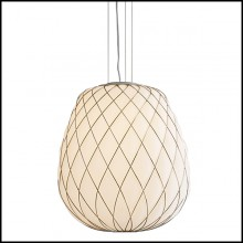 Suspension with structure in nickeled metal in gold finish 40-Baloon