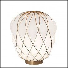 Table Lamp with structure in nickeled metal in gold finish 40-Baloon
