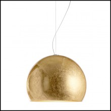 Suspension with aluminium shade all covered with gold leaf 107-Dome Gold Leaf