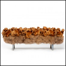 Bench made with small camel plushes on all the seat PC-Dromedary