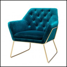 Armchair with structure in brass in brushed finish and with blue velvet fabric 24-Court