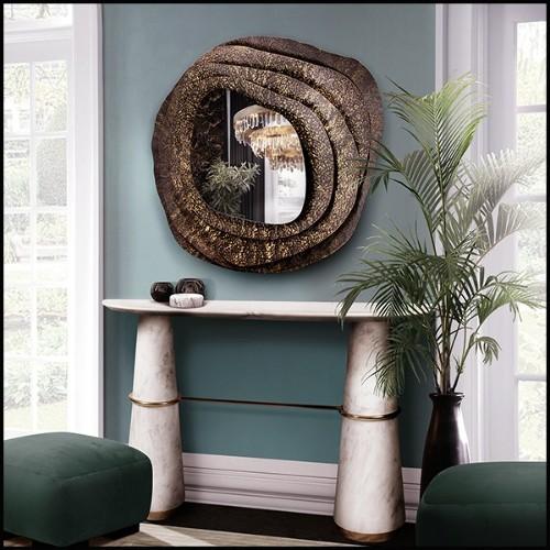 Fauteuil avec structure en laiton finition brossé et tissu velours coloris bleu 24-Court