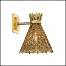 Wall Lamp with structure in stainless steel in vintage brass finish 24-Kon Tiki