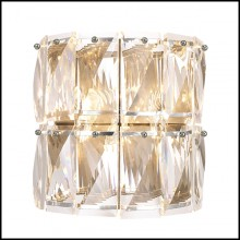 Wall Lamp with structure in nickel finish and clear crystal glass 24-Amazone