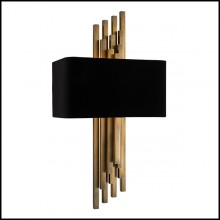Wall Lamp with structure in stainless steel in vintage bras finish 24-Caruso