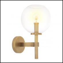 Wall Lamp with structure in antique brass finish and clear glass 24-Jade Brass