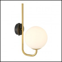 Wall Lamp with structure in gold finish and shade in white glass 24-Lipari