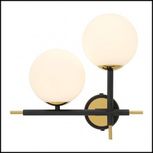 Wall Lamp with structure in gold finish and shades in white glass 24-Senso Left