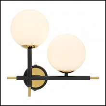Wall Lamp with structure in gold finish and shades in white glass 24-Senso Right