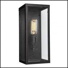 Wall Lamp with structure in steel in gunmetal finish and clear glass 24-Irving Bronze