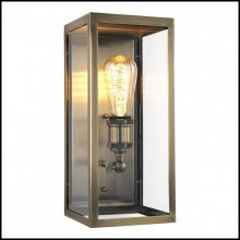 Wall Lamp with structure in antique brass finish and clear glass 24-Irving Brass