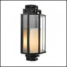 Wall Lamp with structure in black finish and clear glass 24-Monticello