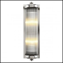 Wall Lamp with structure in nickel finish and clear glass 24-Glorious Nickel L