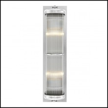 Wall Lamp with structure in nickel finish and clear glass 24-Glorious Nickel XL