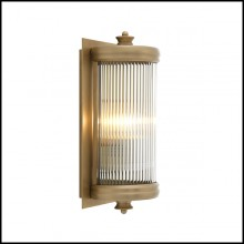 Wall Lamp with structure in matte brass finish and clear glass 24-Glorious Brass S