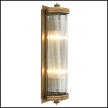 Wall Lamp with structure in matte brass finish and clear glass 24-Glorious Brass L