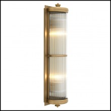 Wall Lamp with structure in matte brass finish and clear glass 24-Glorious Brass XL