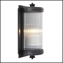Wall Lamp with structure in bronze finish and clear glass 24-Glorious Bronze S
