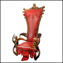 Throne with structure in solid beech wood and red tinted alligator skin PC-King Red Croco