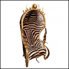 Armchair with real Burchell zebra skin and real horns PC-King Zebra Dome
