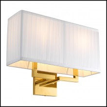 Wall Lamp in gold finish and pleated white shade 24-Westbrook Gold