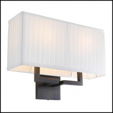 Wall Lamp in bronze finish and pleated white shade 24-Westbrook Bronze