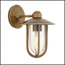 Wall Lamp in brass in vintage finish and clear glass 24-Seg Harbour