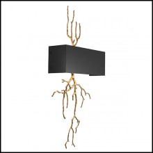 Wall Lamp in brass in antique finish and shade in metal 24-Sorento
