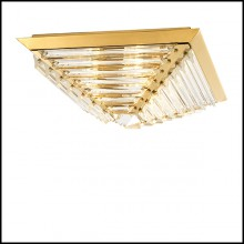 Ceiling Lamp in stainless steel in gold finish and crystal glass 24-Eden Gold