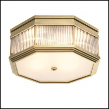 Ceiling lamp with structure in antique brass or nickel or Bronze finish with clear glass and frosted glass 24-Rousseau
