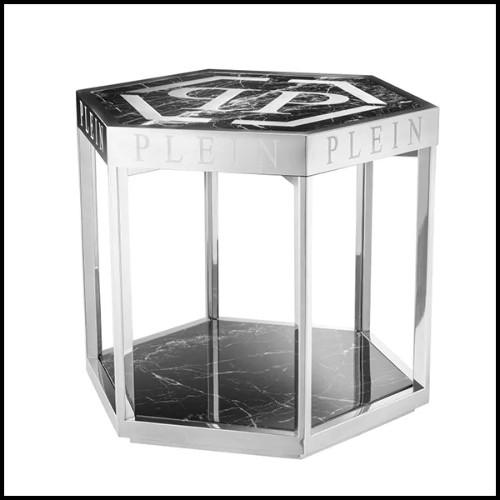 Table basse en acier inoxydable finition gold avec verre clair et verre miroir 24-Sax Set of 4