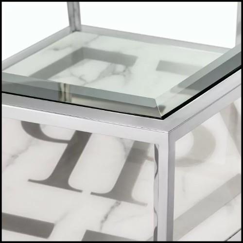 Table basse en acier inoxydable poli avec verre clair et verre miroir 24-Sax Nickel Set of 4